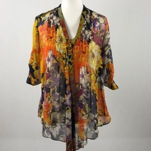 Gibson 100% Silk Floral Print Fly Away Top